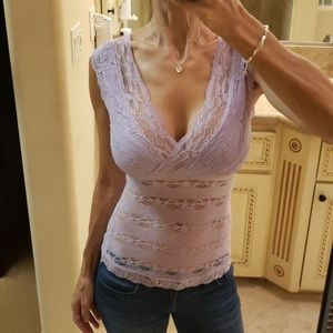 XOXO Lilac All Lace Fitted Tank - XS